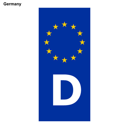 Vehicle registration plates of Germany. EU country identifier. blue band on license plates