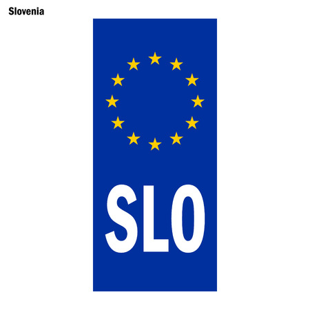 Vehicle registration plates of Slovenia. EU country identifier. blue band on license plates