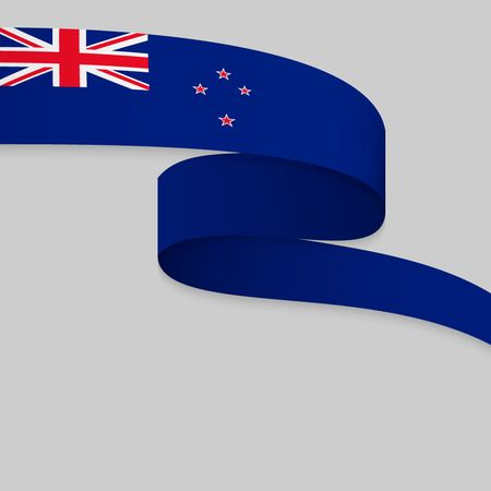 Waving ribbon or banner with flag of New Zealand. Template for independence day poster design