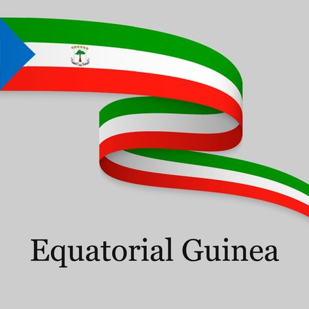 Waving ribbon or banner with flag of Equatorial Guinea. Template for independence day poster design Ilustración de vector