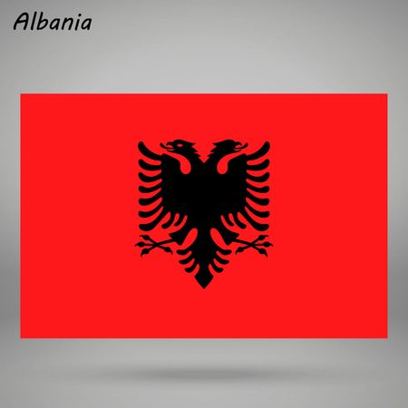 simple flag of Albania isolated on white background