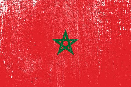 grunge styled flag of Morocco . Template for your design . Template for your design