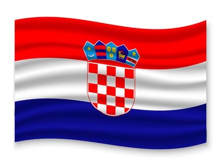 3D Waving Flag of Croatia . Template for your design