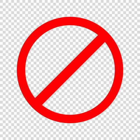 Prohibiting sign. Icon with red crossed circle on transparent background . Template for your design