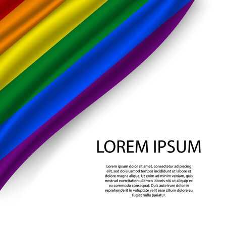 Waving ribbon or banner with flag of LGBT pride. Template for independence day poster design
