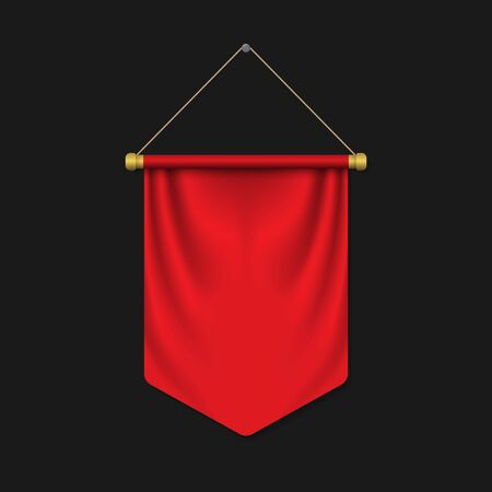 Empty 3D Pennant template. Blank flag. Realistic vector illustration Foto de archivo - 124863709