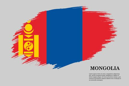 Brush stroke styled flag of Mongolia . Template for your design