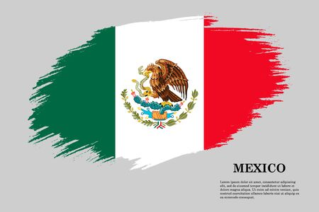 Brush stroke styled flag of Mexico . Template for your design Illustration