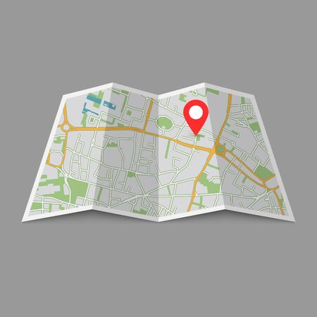 Abstract location City Map, Paper map template