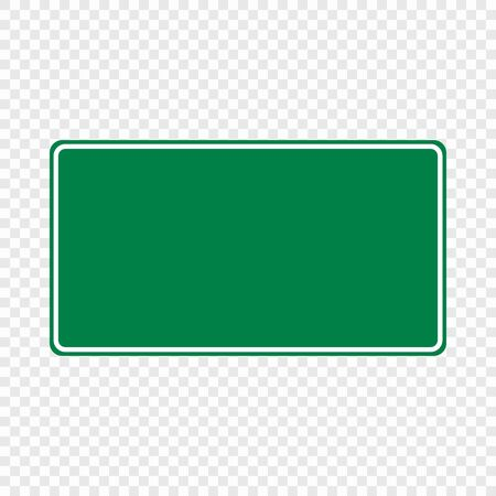 Blank green traffic road sign isolated . Template for your design Illustration