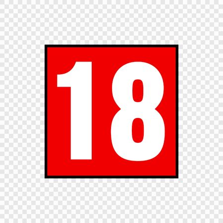 Video game content rating symbol. Suitable for ages 18 and over Illustration