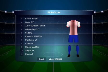 Football scoreboard broadcast graphic template with squad Paraguay soccer team