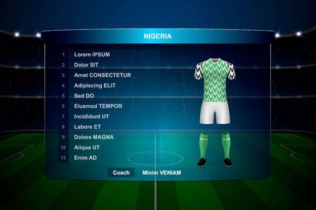 Football scoreboard broadcast graphic template with squad Nigeria soccer team