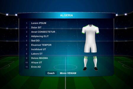 Football scoreboard broadcast graphic template with squad Algeria soccer team