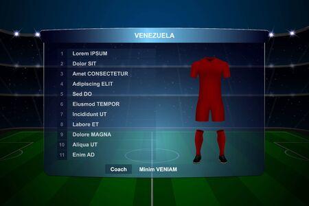 Football scoreboard broadcast graphic template with squad Venezuela soccer team