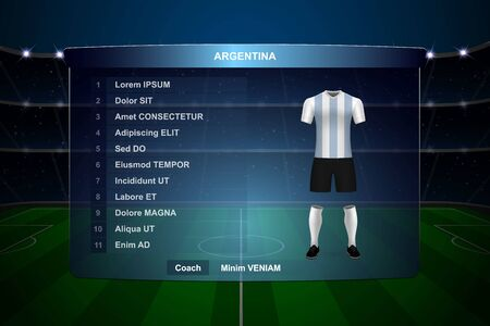 Football scoreboard broadcast graphic template with squad Argentina soccer team