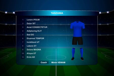 Football scoreboard broadcast graphic template with squad Tanzania soccer team