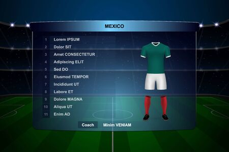 Football scoreboard broadcast graphic template with squad Mexico soccer team