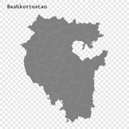 Hochwertige Karte von Baschkortostan ist eine Region Russlands mit Grenzen der Bezirke