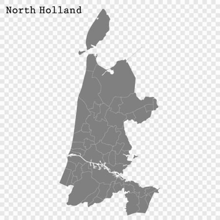 High Quality map of North Holland is a province of Netherlands, with borders of the Municipalities