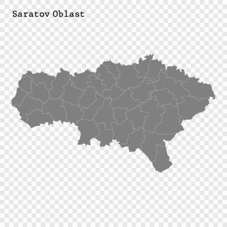 High Quality map of Saratov Oblast is a region of Russia with borders of the districts
