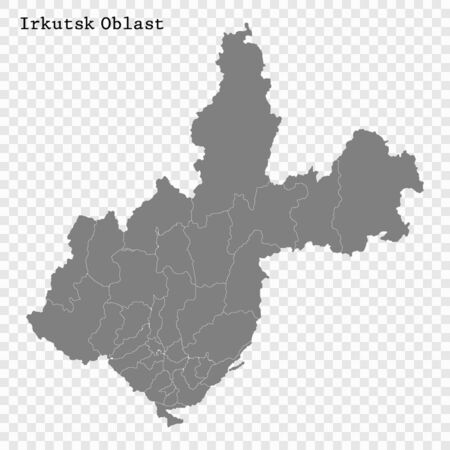 High Quality map of Irkutsk Oblast is a region of Russia with borders of the districts 일러스트