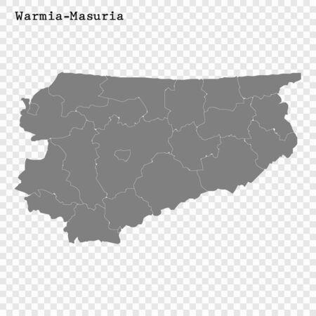 Wysokiej jakości mapa Warmii i Mazur to województwo Polski z granicami powiatów
