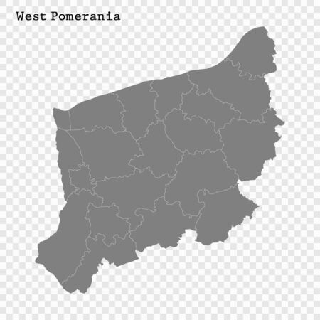 High Quality map of West Pomerania  is a Voivodeship of Poland with borders of the powiats
