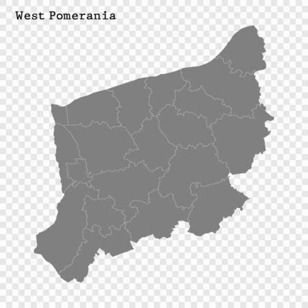 Wysokiej jakości mapa Pomorza Zachodniego to województwo Polski z granicami powiatów Ilustracje wektorowe