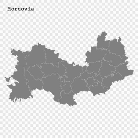 High Quality map of Mordovia is a region of Russia with borders of the districts