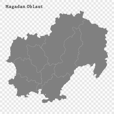 High Quality map of Magadan Oblast is a region of Russia with borders of the districts 일러스트
