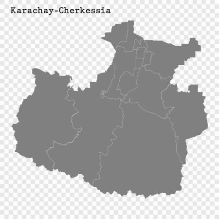 High Quality map of Karachay-Cherkessia is a region of Russia with borders of the districts