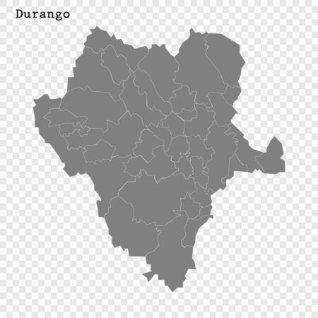 High Quality map of Durango is a state of Mexico, with borders of the municipalities Illustration