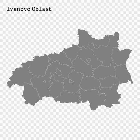 High Quality map of Ivanovo Oblast is a region of Russia with borders of the districts