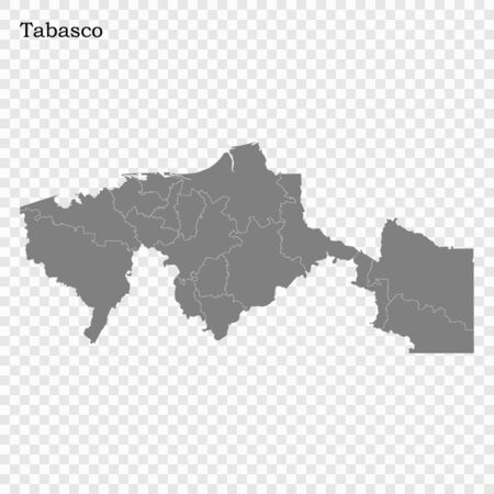 High Quality map of Tabasco is a state of Mexico, with borders of the municipalities