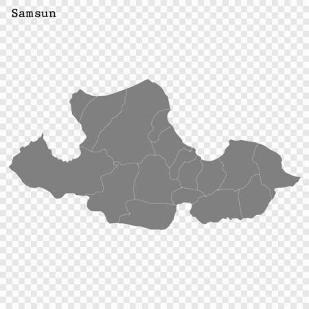 High Quality map of Samsun is a province of Turkey, with borders of the Districts
