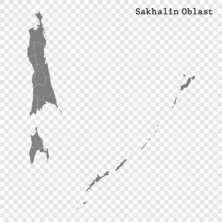 High Quality map of Sakhalin Oblast is a region of Russia with borders of the districts