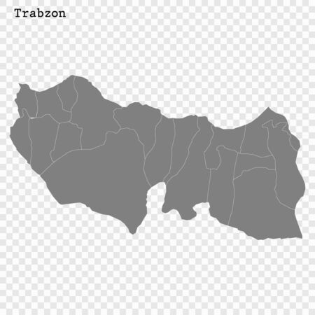 High Quality map of Trabzon is a province of Turkey, with borders of the Districts