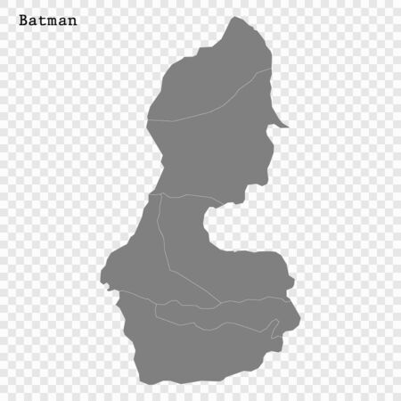 High Quality map of Batman is a province of Turkey, with borders of the Districts