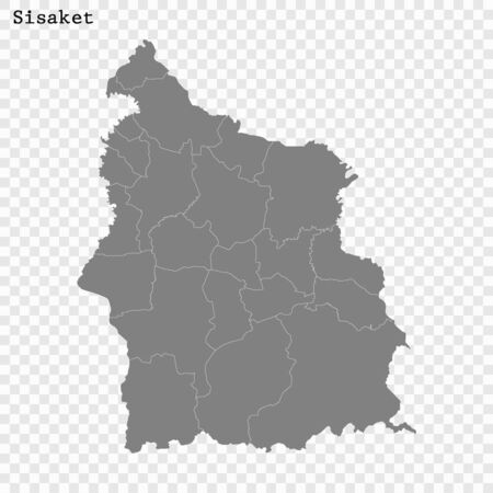 High Quality map of Sisaket is a province of Thailand, with borders of the districts  イラスト・ベクター素材
