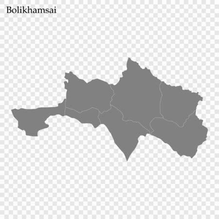High Quality map of Bolikhamsai is a province of Laos, with borders of the districts