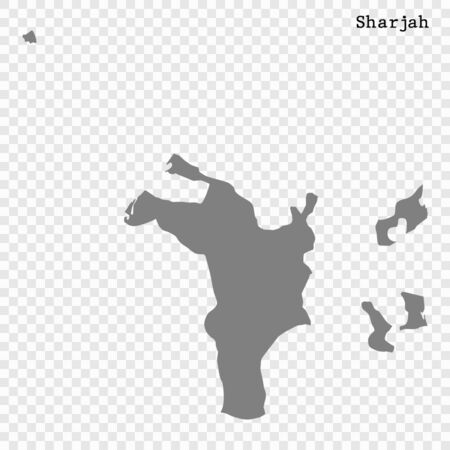 High quality map of Sharjah is a emirate of United Arab Emirates Illustration