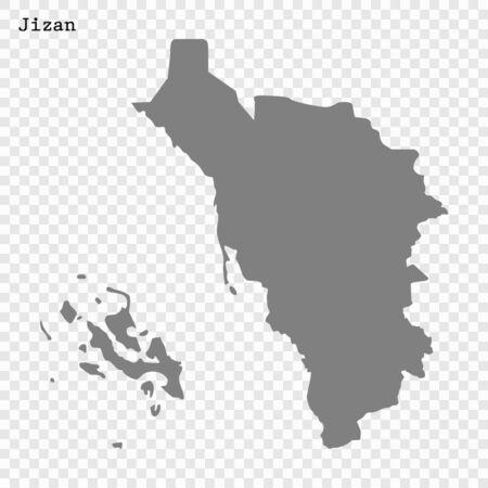 High quality map of Jizan is a region of Saudi Arabia