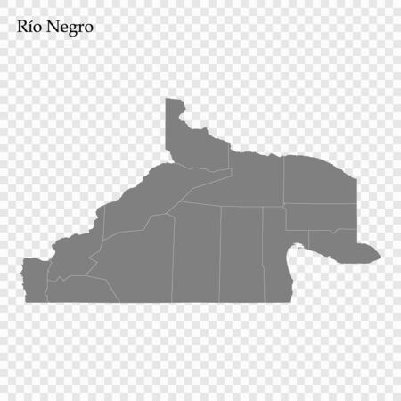 High Quality map of Rio Negro is a province of Argentina with borders of the departments Ilustrace