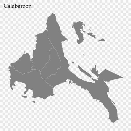 High Quality map of Calabarzon is a region of Philippines, with borders of the provinces