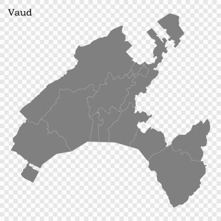 High Quality map of Vaud is a canton of Switzerland, with borders of the districts