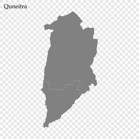 High Quality map of Quneitra is a governorate of Syria, with borders of the districts 向量圖像