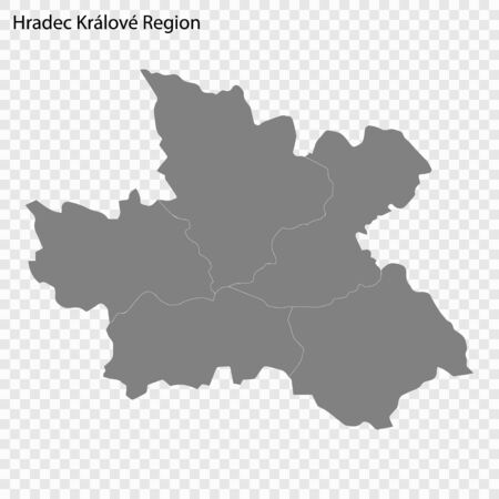 High quality map of Hradec Kralove is a region of Czech republic, with borders of the districts  イラスト・ベクター素材