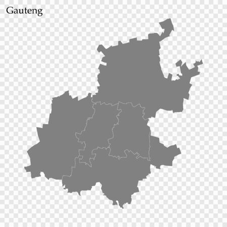 High Quality map of Gauteng is a province of South Africa, with borders of the districts