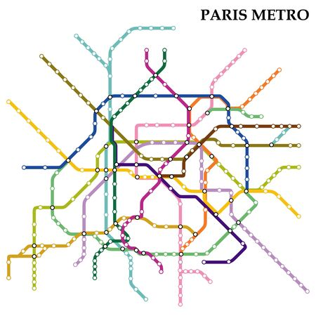 Map of the Paris metro, Subway, Template of city transportation scheme for underground road.